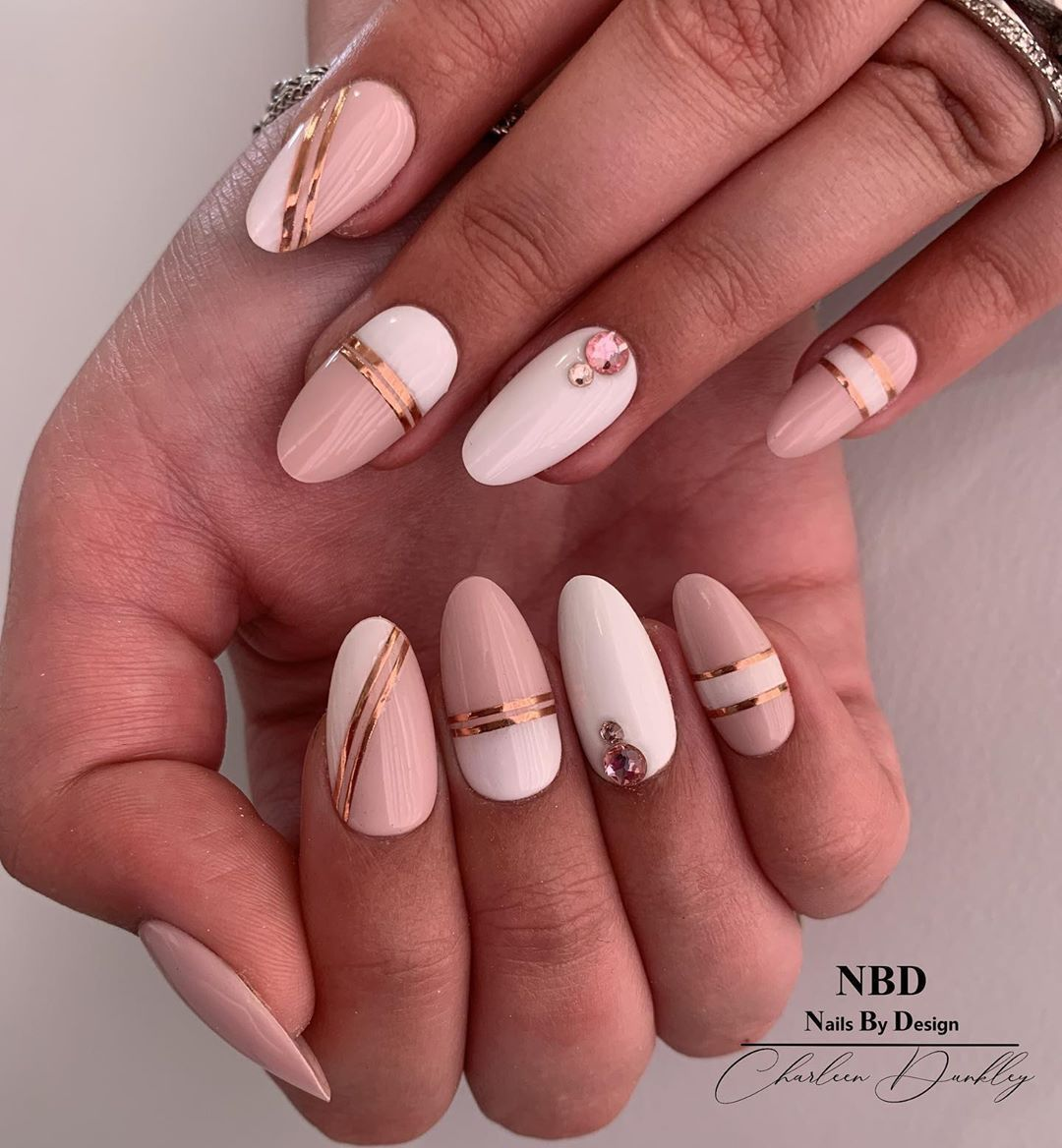 NBD-Charleen Dunkley on Instagram: Pink white and Rose Gold #gel #pink #pinknails #rosegoldnails #whitenails #white #nailtechnician #lovemyjob #lovemyclients #naillife
