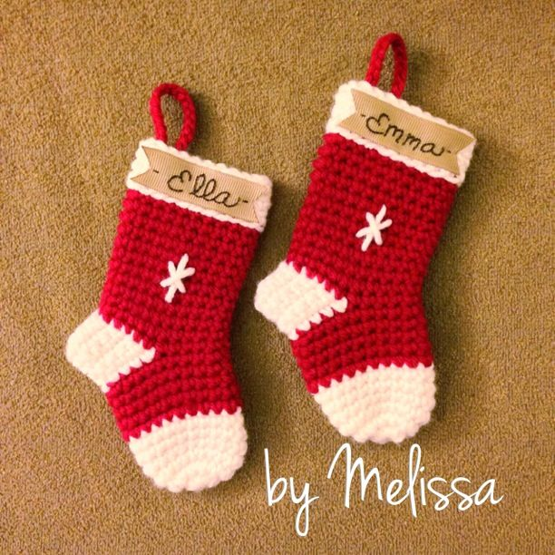 Crochet stocking ornament. Pattern can be found here: http://www ...