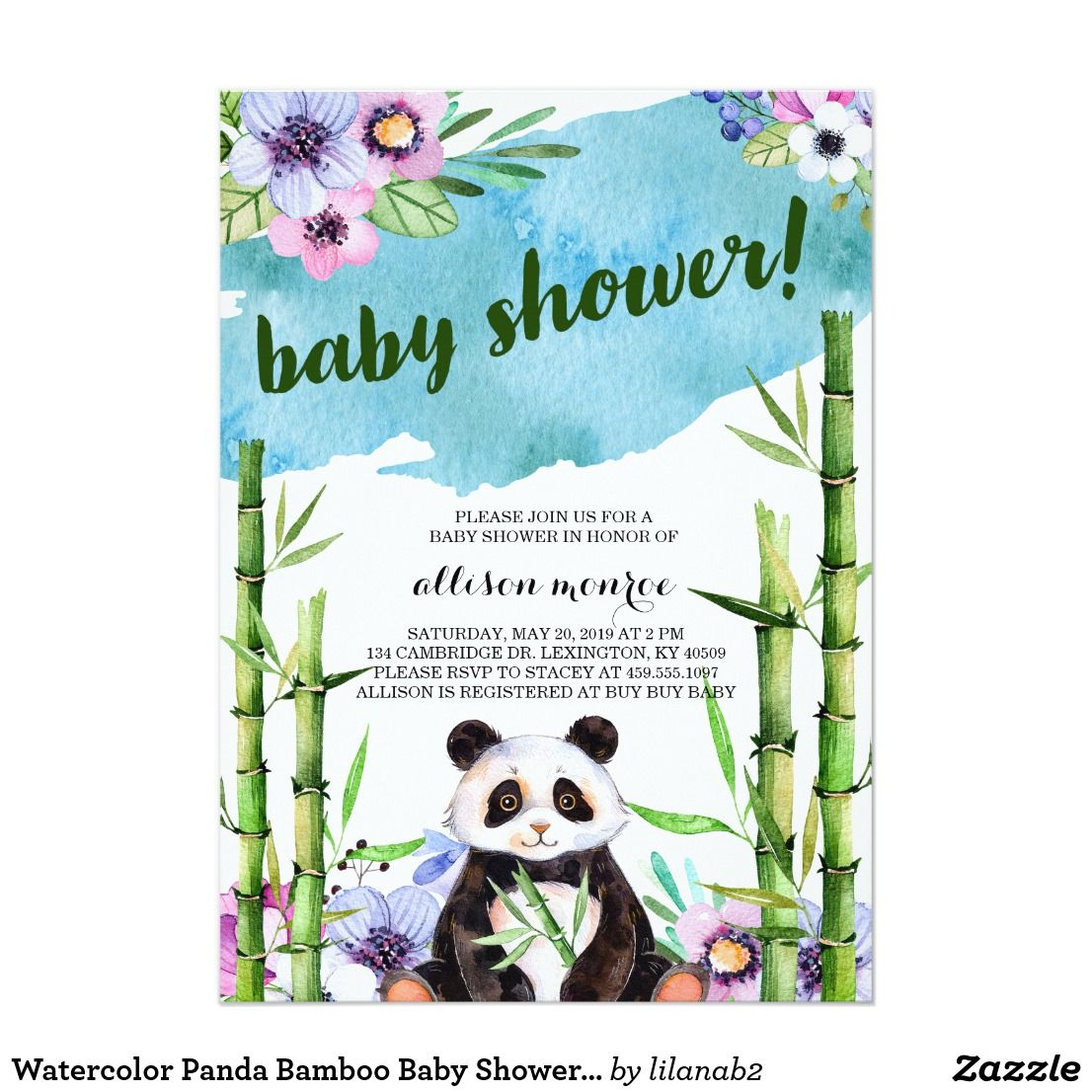 Watercolor Panda Bamboo Baby Shower Invitation | Shower invitations