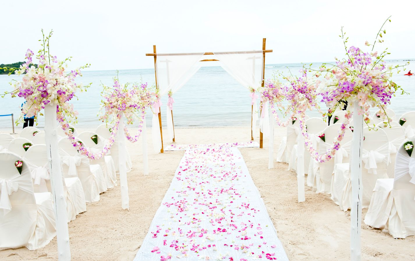 Pink Purple Beach Wedding Theme Samui Wedding Wedding Themes