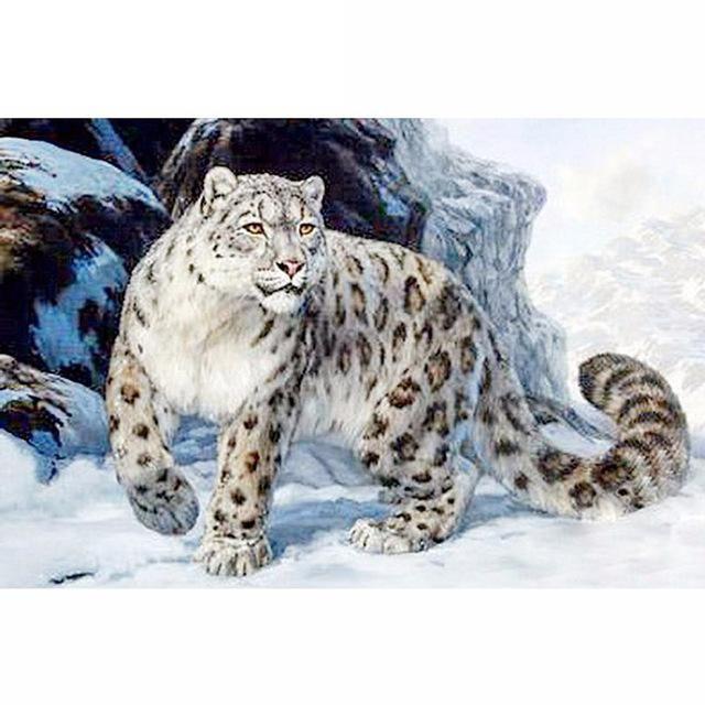DIY 5D Diamond Embroidery Cross Stitch Snow Leopard Animal Painting Home Decor