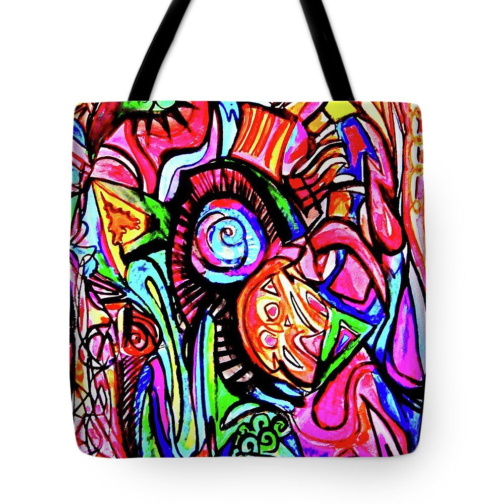 Funky Garden Tote Bag by Expressionistartstudio Priscilla-Batzell.  The tote bag is machine washable, available in three different sizes, and includes a black strap for easy carrying on your shoulder.  All totes are available for worldwide shipping and include a money-back guarantee.