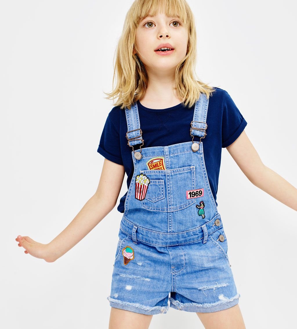 a848a2b047a Denim dungarees with patches-SKIRTS AND SHORTS-GIRL