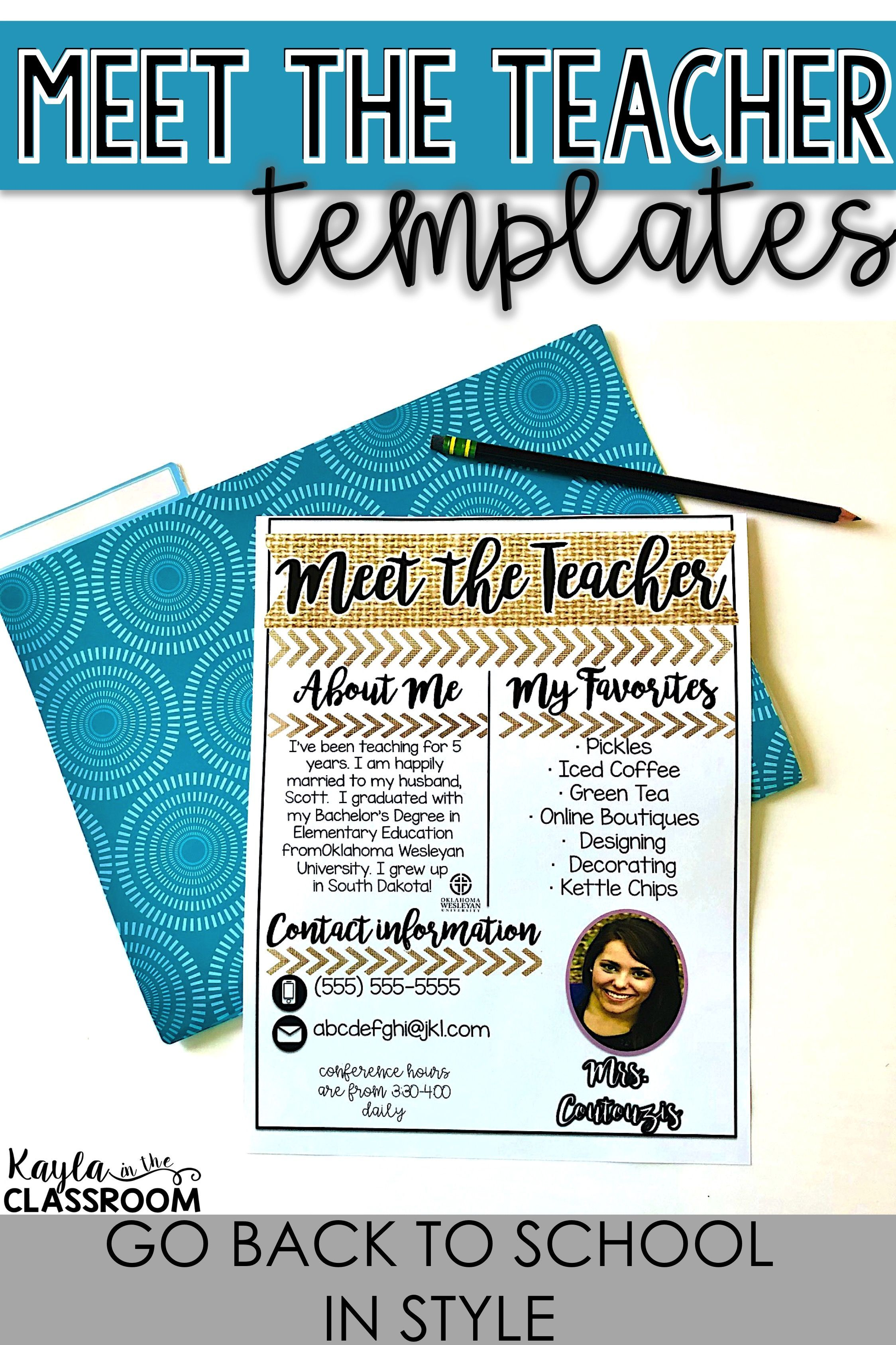 Meet the Teacher Templates Editable #meettheteacherideas Editable Meet the Teacher Templates where you can easily add your own information to introduce yourself to students and parents!  -Meet the Teacher Ideas -Meet the Teacher Night -Meet the Teacher Templates -Meet the Teacher Editable -Meet the Teacher Preschool -Meet the Teacher Kindergarten -Meet the Teacher First Grade -Meet the Teacher Second Grade -Meet the Teacher Third Grade -Meet the Teacher Fourth Grade -Meet the Teacher Letter #meettheteachernight