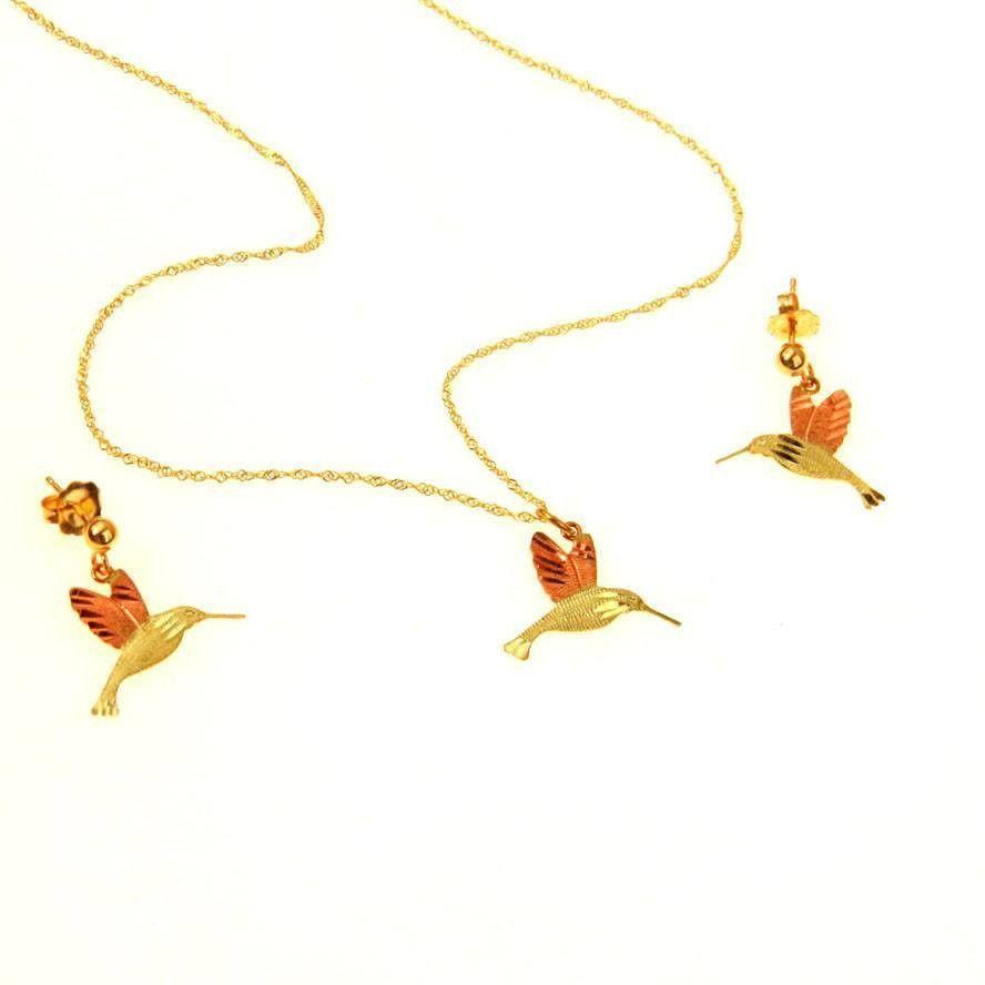 Black hills gold hummingbird necklace earring set black hills gold