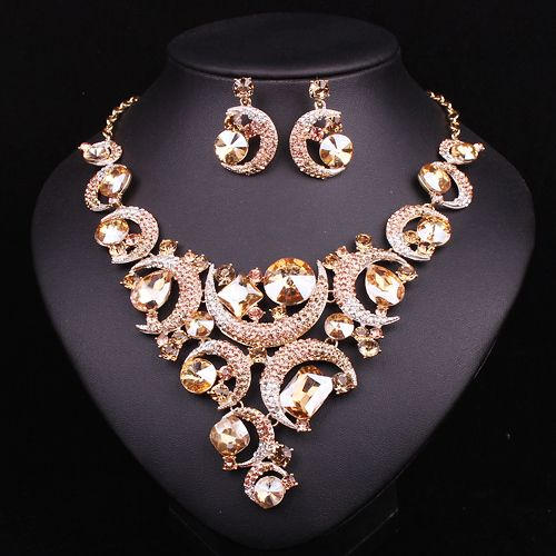 Fashion Crystal Necklace And Earrings Jewelry Sets Bridal Wedding Dress Accessories Party Prom Set Gift For Women 2017