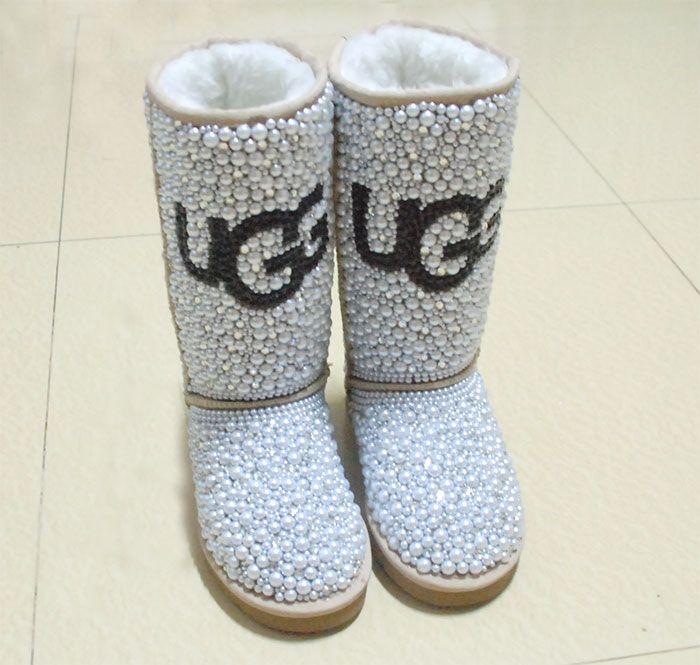 7a5eedac8 Full Swarovski crystal pearls Chanel Boots bling bling DIY UGG logo.  199.00