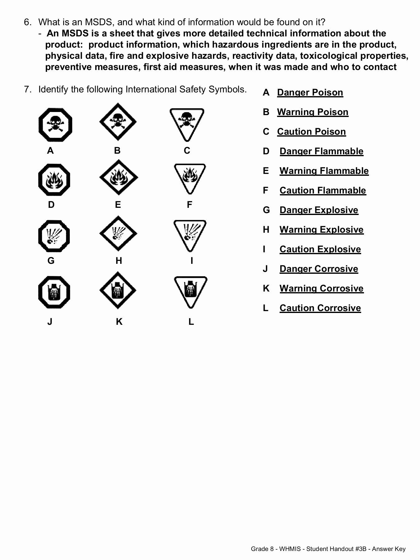 Science Safety Symbols Worksheet Unique Whmis And Safety