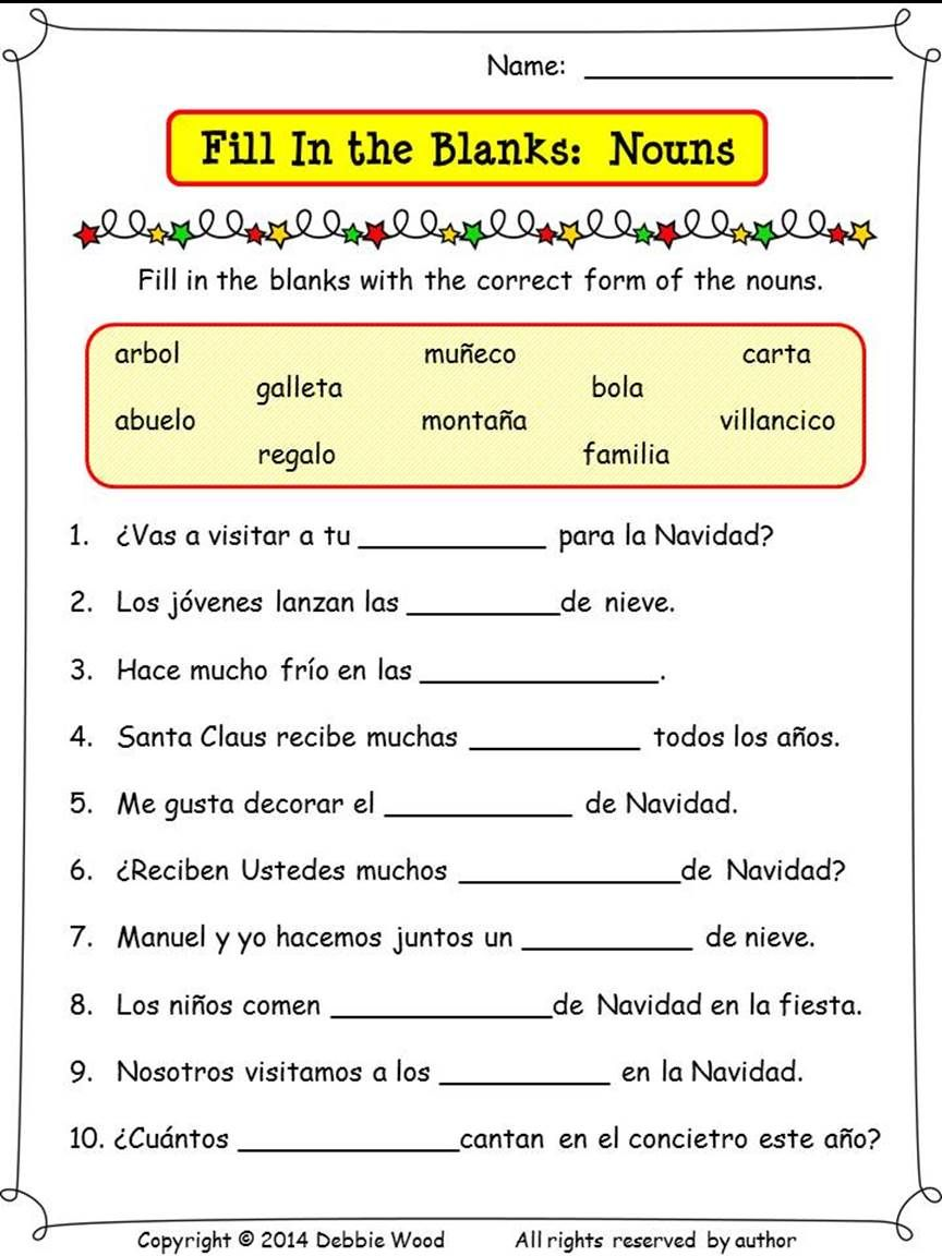 Spanish Christmas Activities Nouns and Verbs Spanish