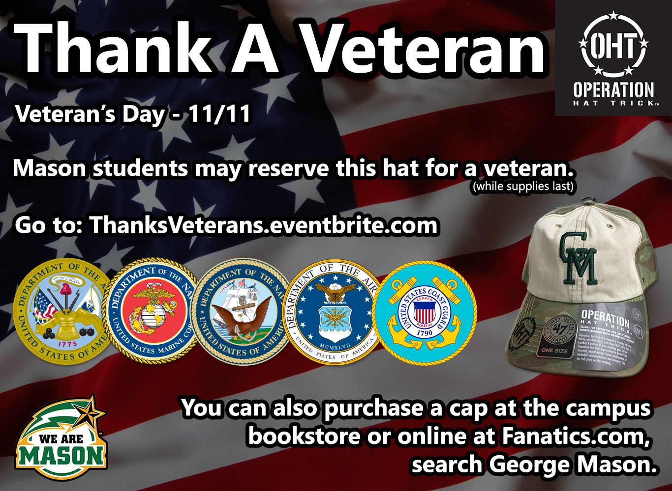 Thank a Veteran!  Visit ThanksVeterans.eventbrite.com to claim a cap!