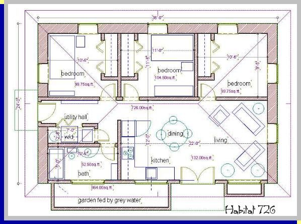 a habitat for humanity, straw bale house plan, 726 sq. ft. | Small ...