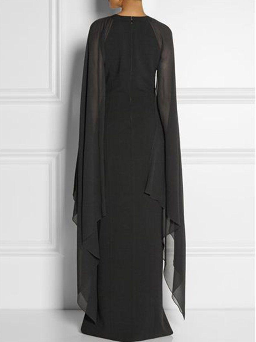 85e83989386 Long-Sleeved Cape Open Sleeve High Slit Plain Chiffon Maxi Dress ...