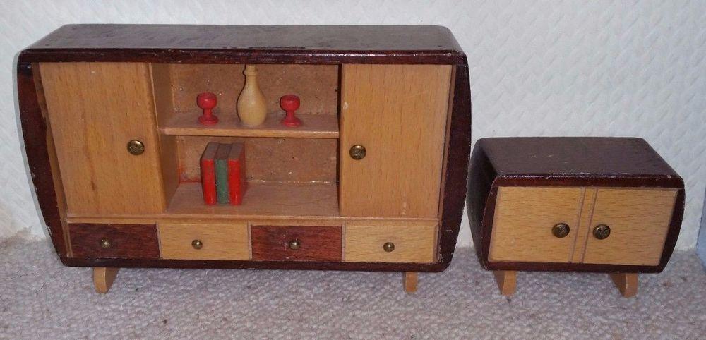 Details zu Puppenstube alte Schränke 50er Jahre Holz Erzgebirge - barbie wohnzimmer möbel