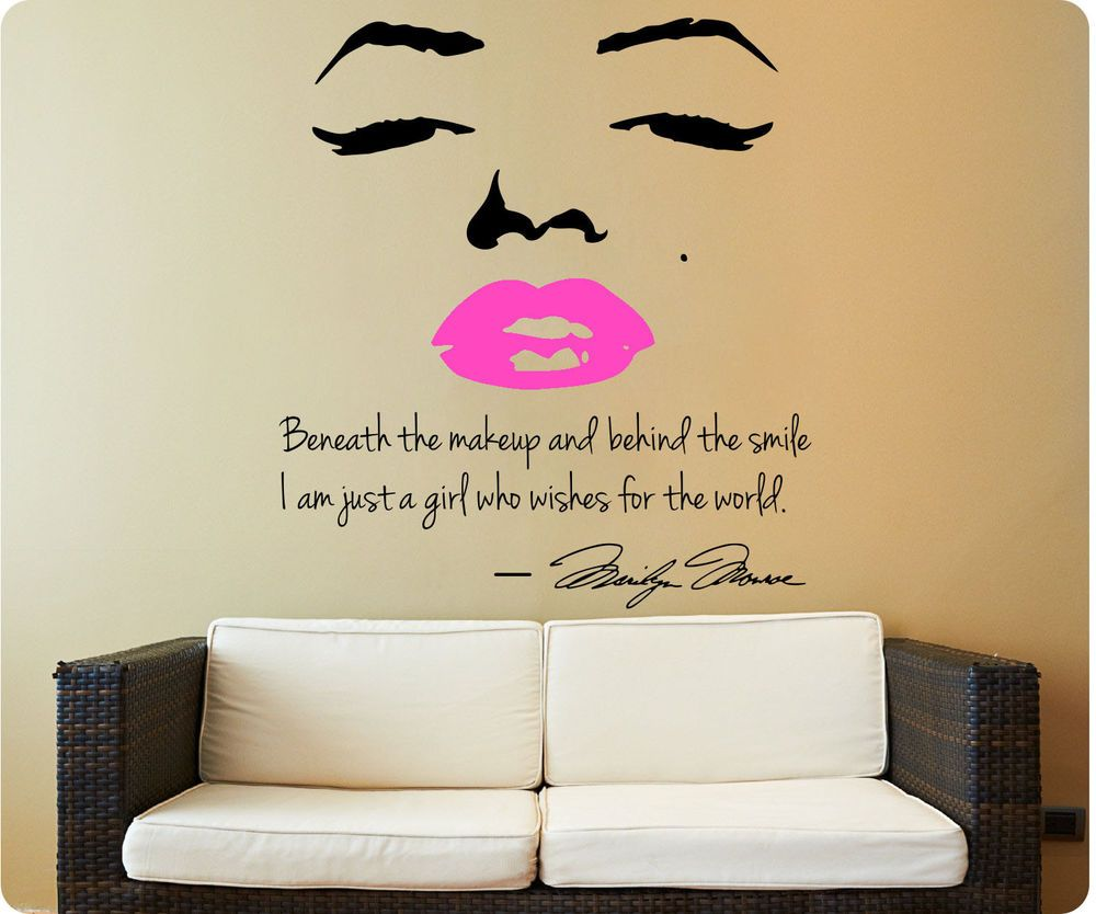 Marilyn Monroe Wall Decal Decor Quote Face Pink Lips Makeup - Wall decals marilyn monroe
