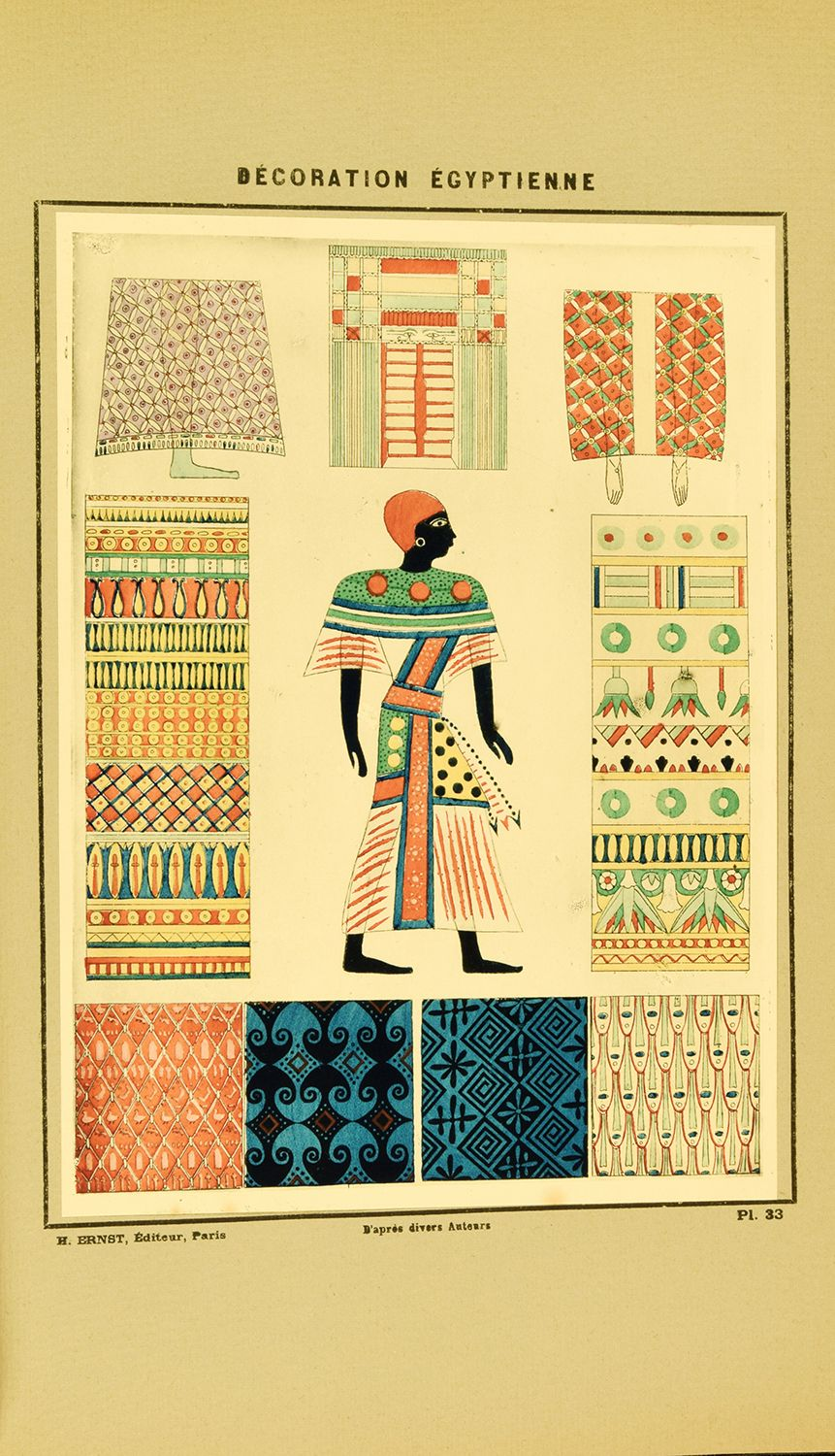 """From """"Décoration égyptienne,"""" Paris, Henri Ernst, 1923. For more info: http://mannlib.cornell.edu/news/slideshows/egyptmania-and-fashion-1920s"""