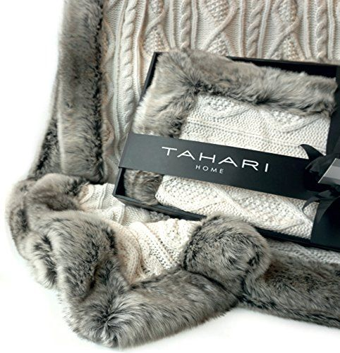Chunky Cable Knit Throw With Faux Fur Trim Freya Knitted Sweater Best Tahari Throw Blanket