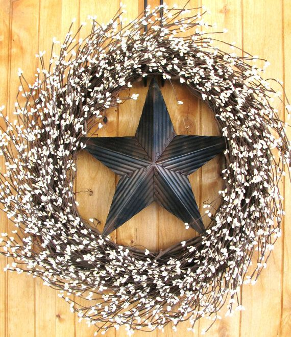 Texas Home Decor: Primitive Door Wreath-Rustic BARN STAR Wreath-Primitive