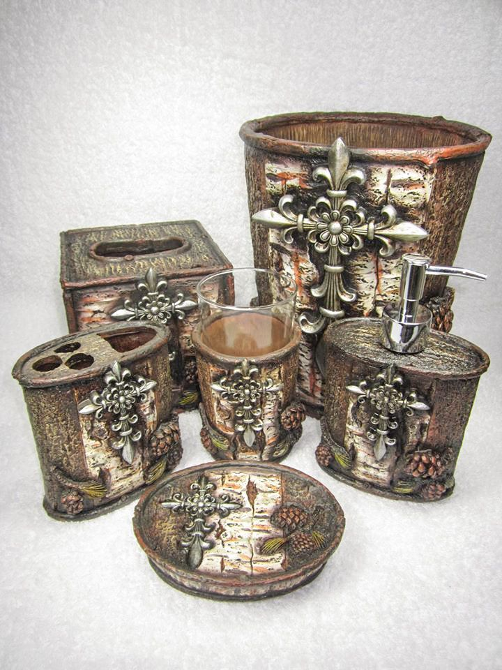 Bathroom Accessories With Crosses fleur-de-lis cross pinecone tree bark six piece bathroom set | for