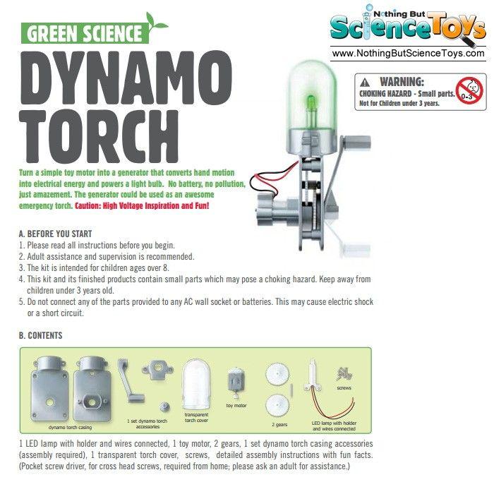 4m Kidz Labs Green Science Dynamo Torch Toy Motor Generator Hand