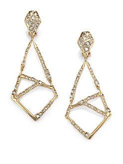 Alexis Bittar Miss Havisham Mosaic Crystal Geometric Clip On Drop Earrings