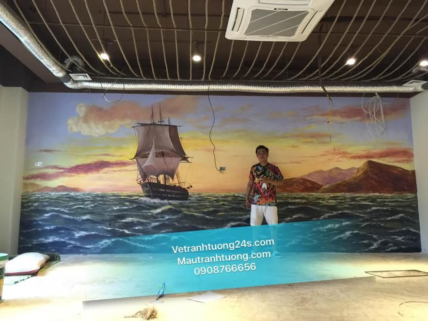 Vẽ tranh tường 3d nhà hàng cánh buồm 52 trường trinh Hà Nội