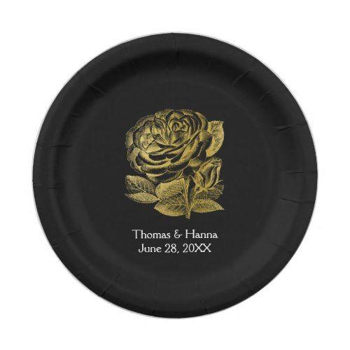 Vintage Rose Sketch Gold Wedding Paper Plate | Rose Gold Wedding ...