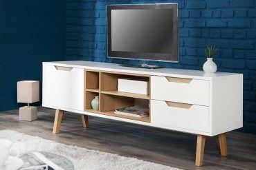 Design Lowboard Nordic 150cm Edelmatt Weiß Echt Eiche Tv Board
