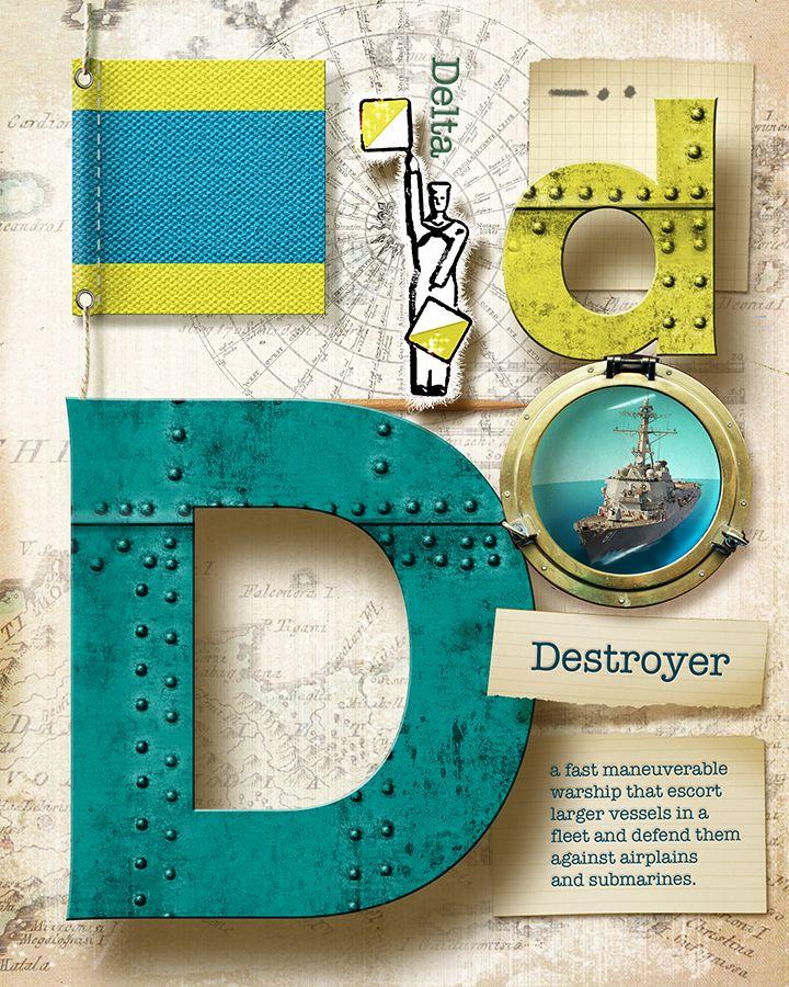 Navy Alphabet Nautical Letter D By Vanessa Bates