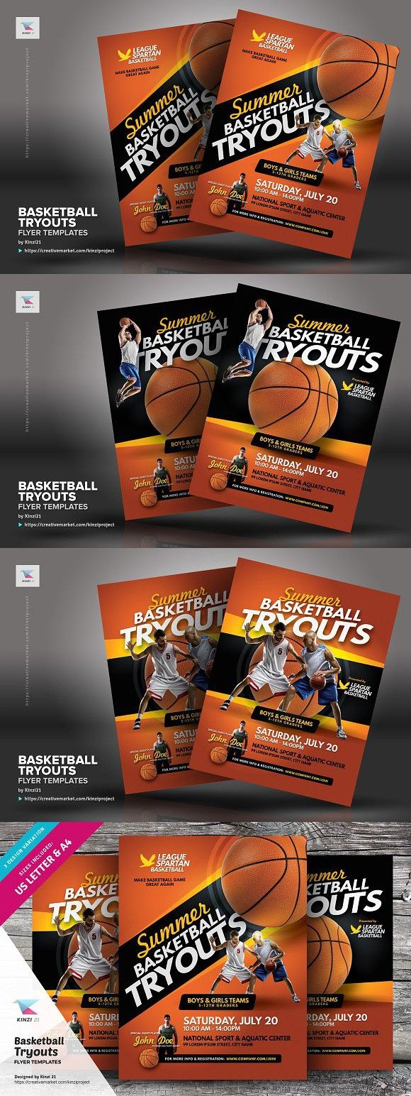 basketball tryouts flyer templates magazine design pinterest