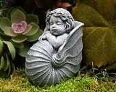 Baby Mermaid Garden Sculpture   Concrete Outdoor Decor