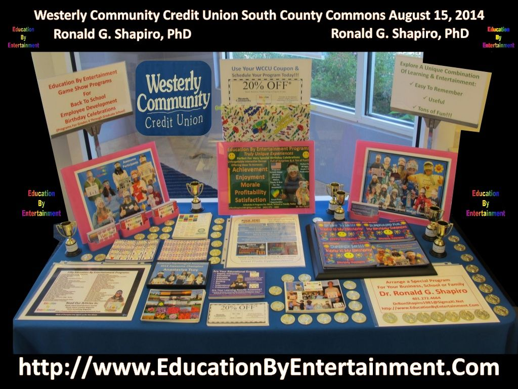 Education by entertainment promotional display at the