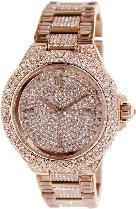 fb7e34437ca6e Michael Kors MK5862 Camille Rose Gold Toned Women Crystallized Watch ...