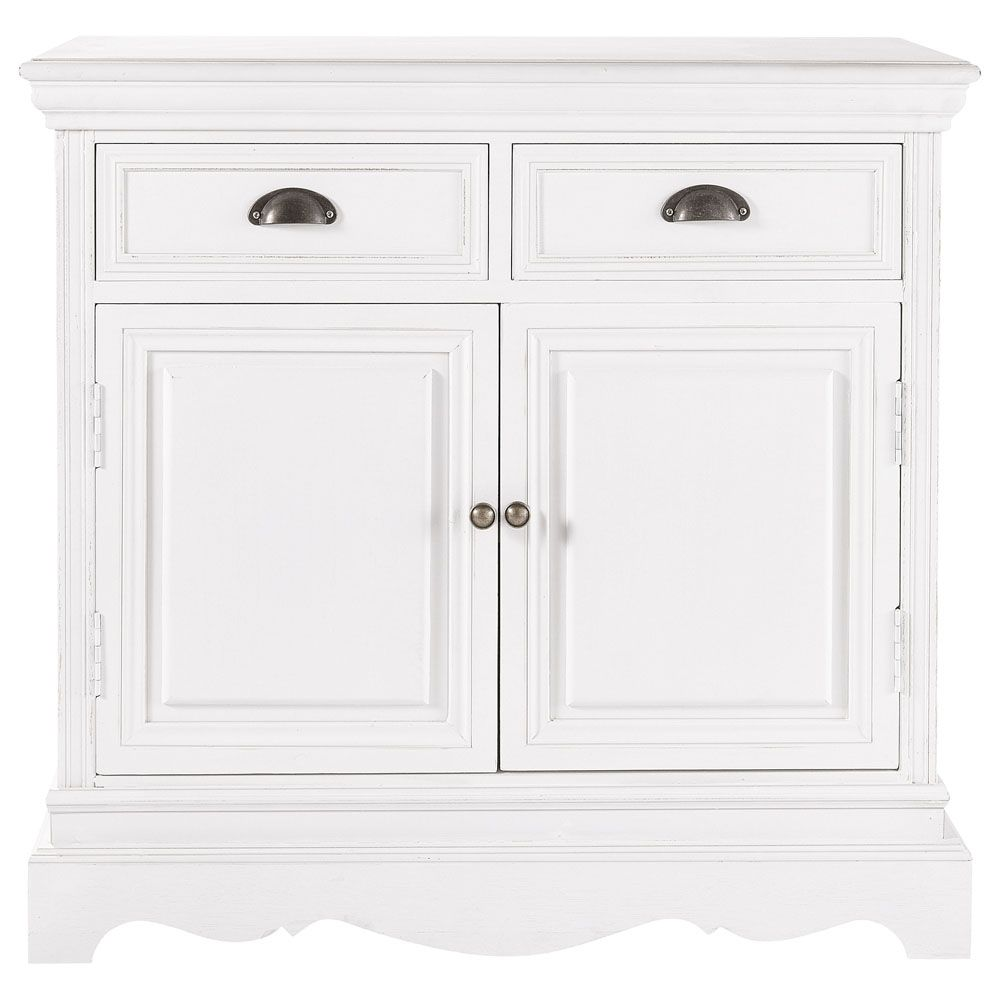 Maison Du Monde Credenze Bianche paulownia wood sideboard in white w 86cm | sideboard, living