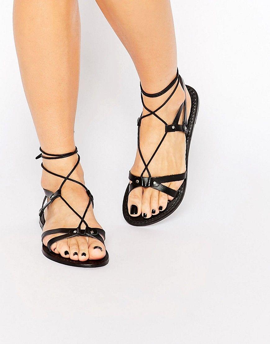 ASOS+FONDA+Leather+Lace+Up+Flat+Sandals