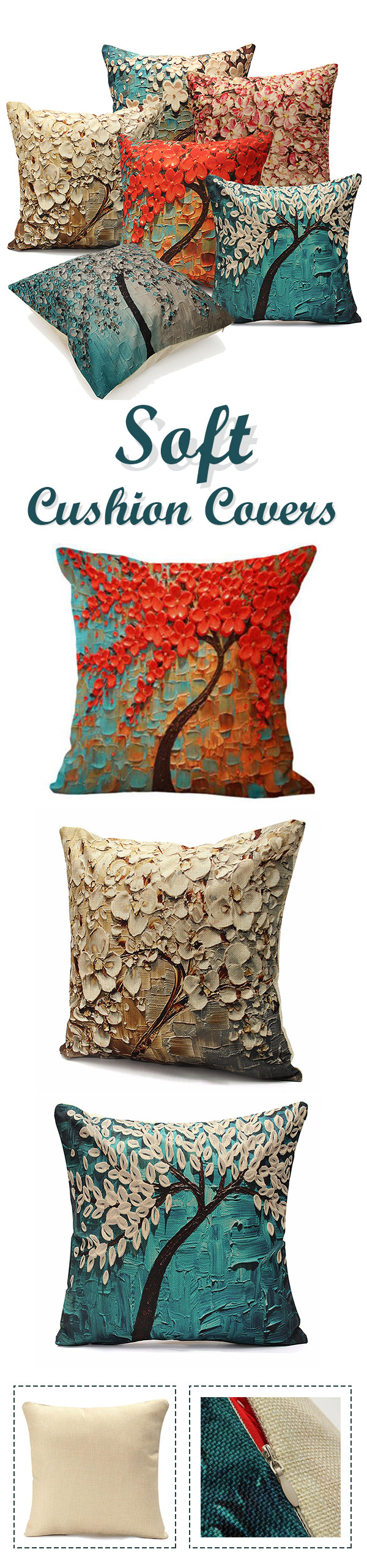 Sofo d colorful tree flower cushion cover cotton linen pillow case