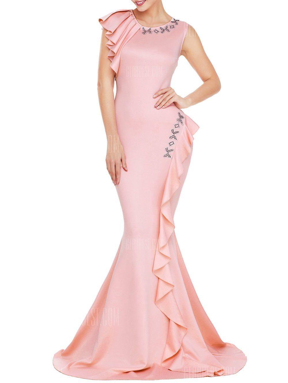 Sleeveless ruffle mermaid prom dress in dreamy dresses