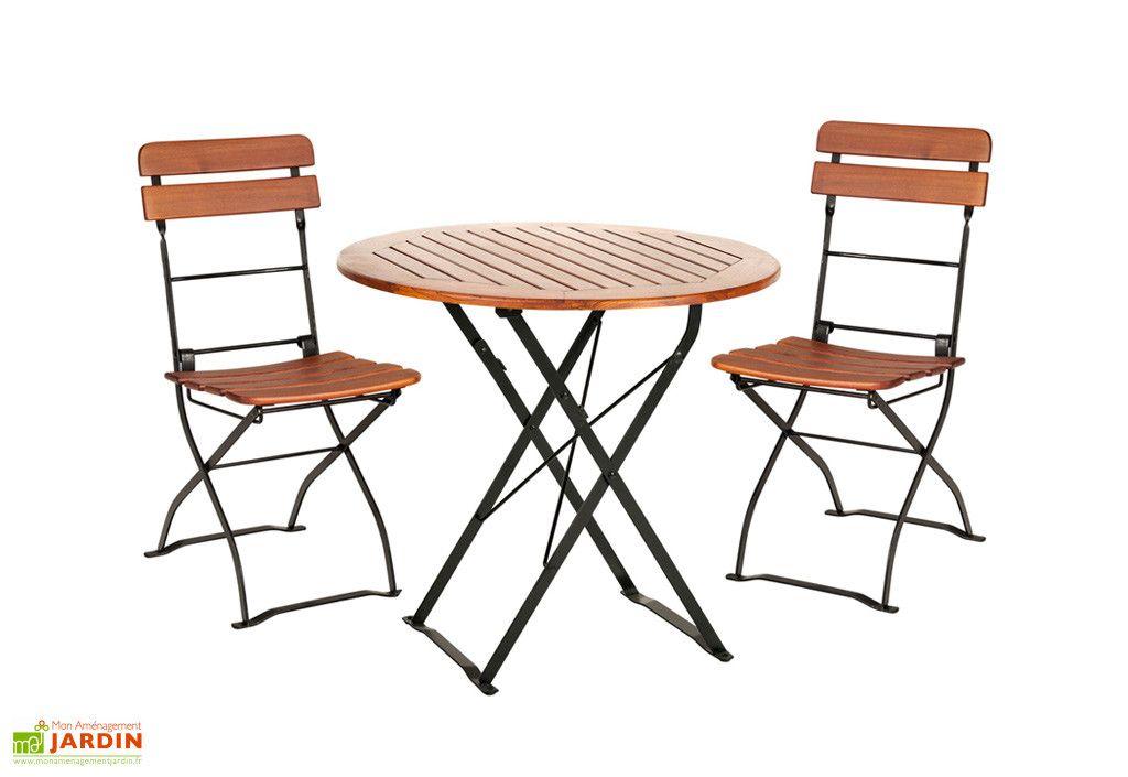 Salon de Jardin en Bois Pliable Café : Table Ronde + 2 ...