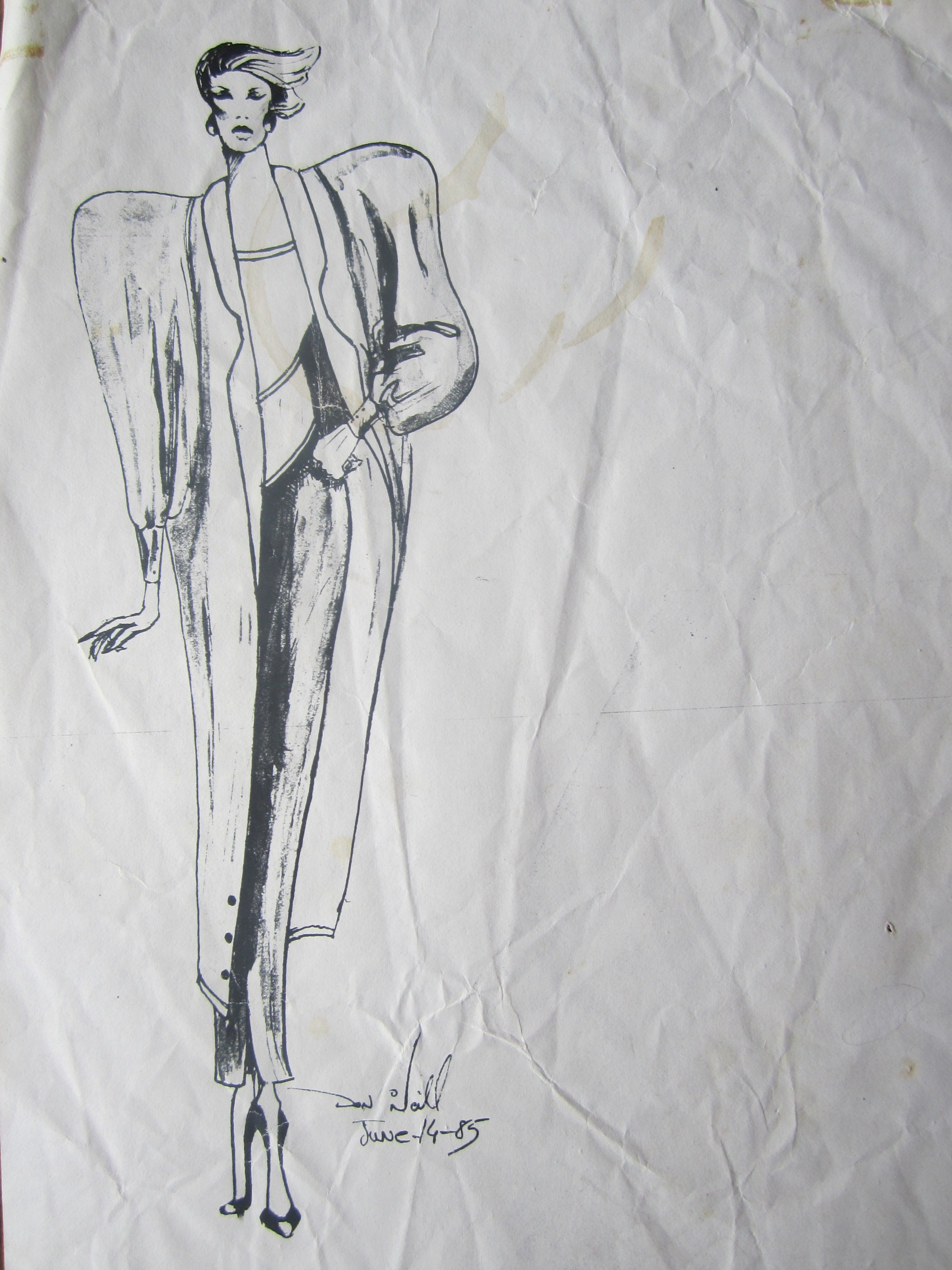 Don O'Neill's first fashion sketch, June 14, 1985