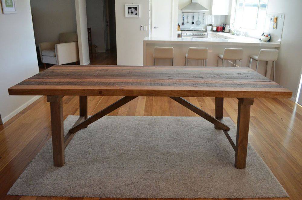 Vintage Rustic Industrial 8 10 Seater Timber Dining Table Wooden