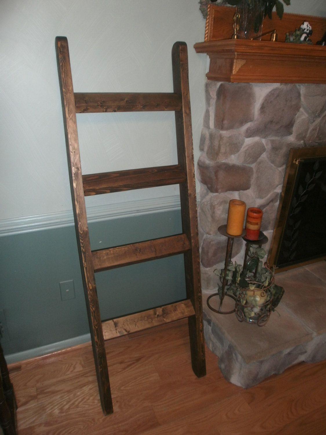 Rustic decorative blanket ladder primitive by oldwoodworkershack