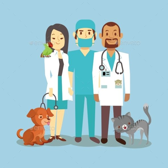 Veterinarian Staff With Pets Isolated On Blue Cute Animals Pets Pet Clinic