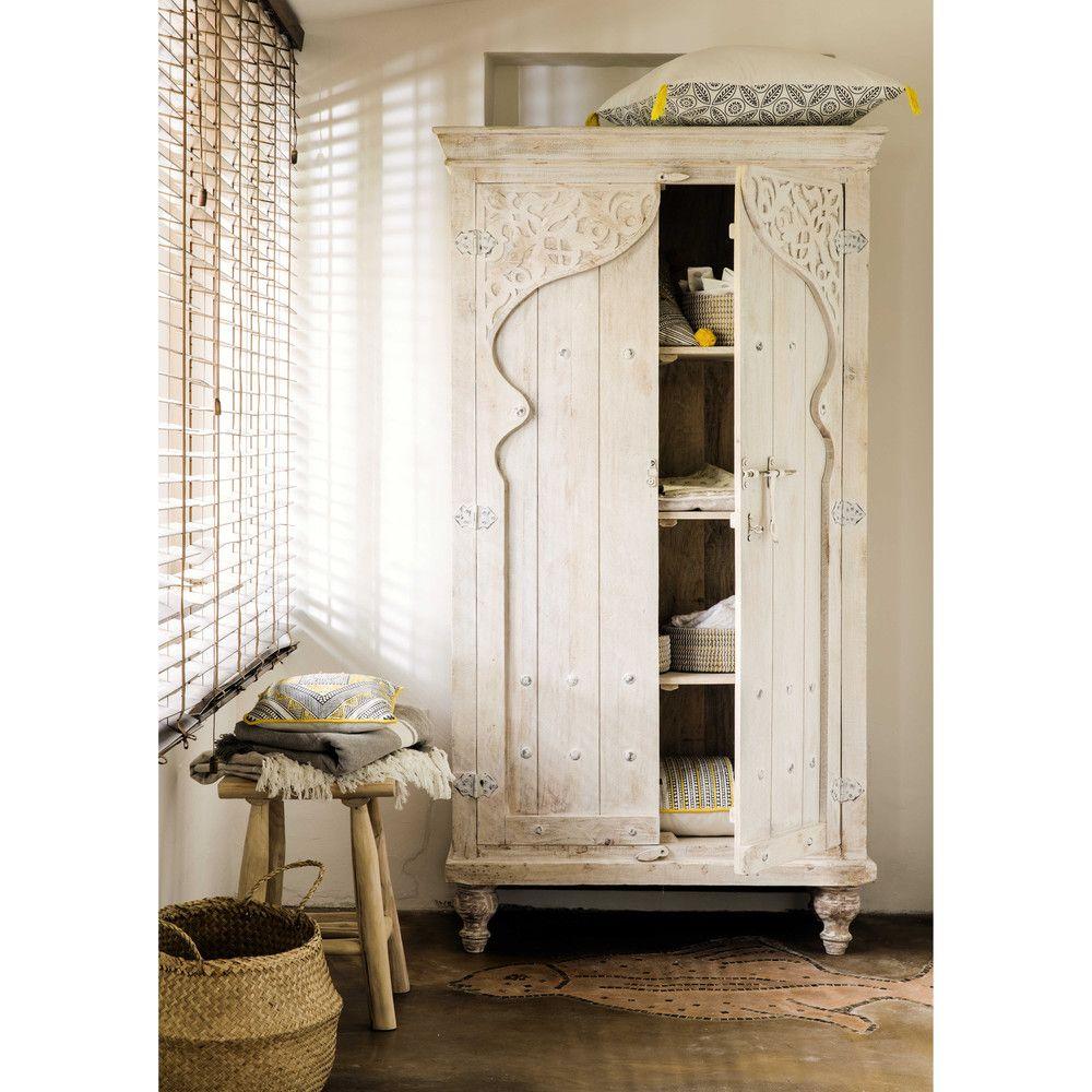 Witte mangohouten kast B 102 cm Home design decor