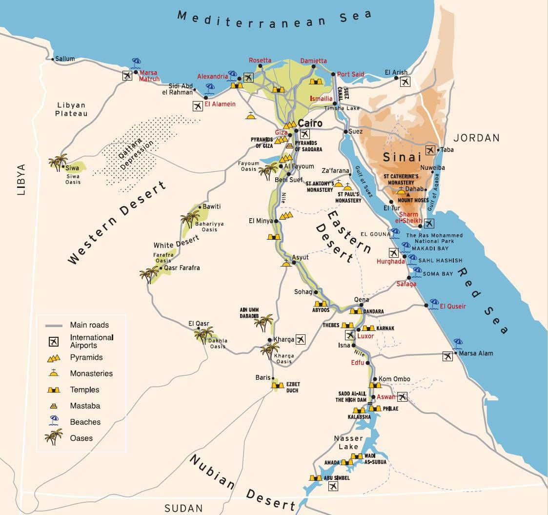Map Of Egypt Pyramids Temples Beaches And Oases