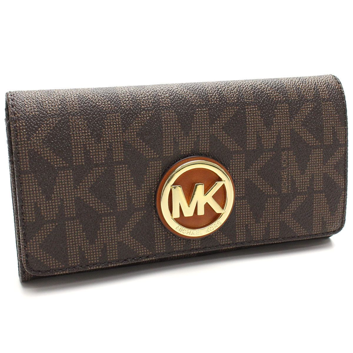 263083e5c947 Michael Kors Fulton Brown Logo/Gold Carryall Wallet (Brown Logo/Gold ...