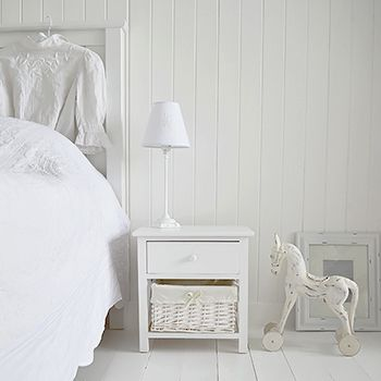 new haven small white bedside table with basket and drawer a