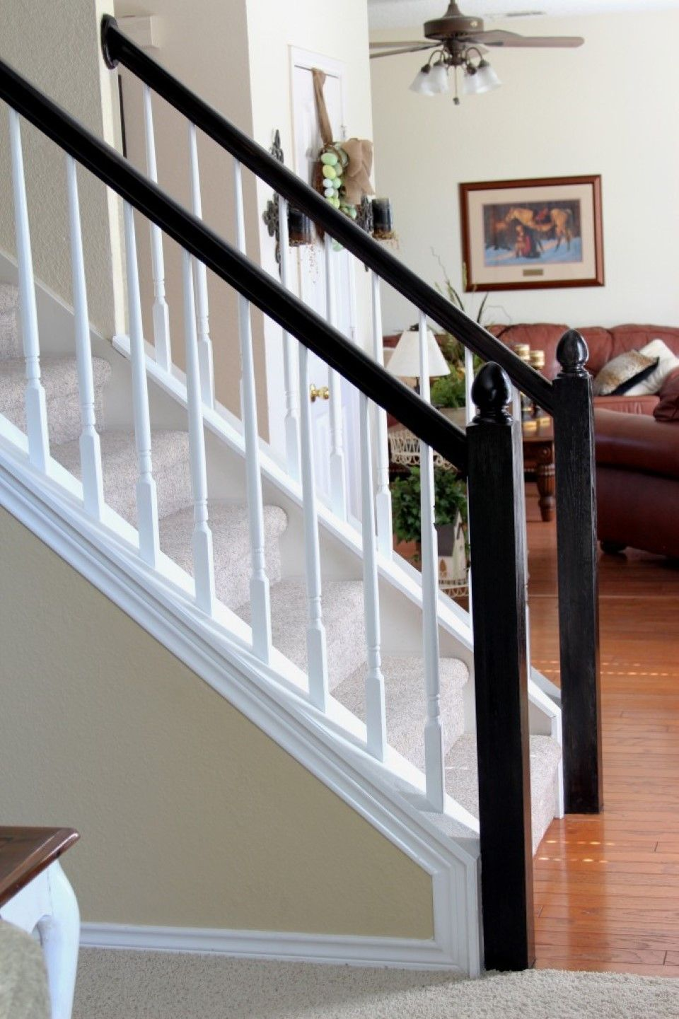 Interior, Simple White Staircase With White Railing Banister Also Black Wooden  Handrail Plus Brown Wall