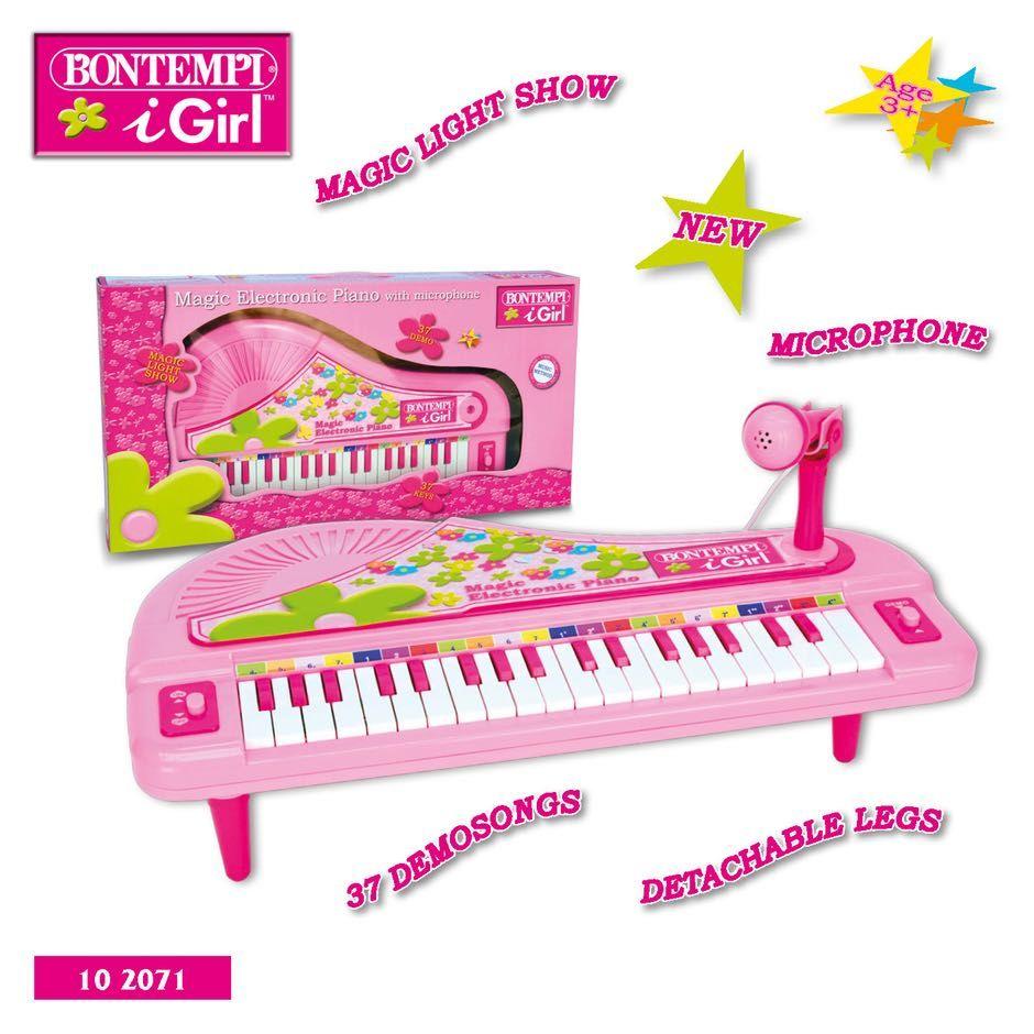 Pianoforte elettronico a coda con microfono • 37 tasti • Effetti luminosi • 37 brani preregistrati • Gambe smontabili