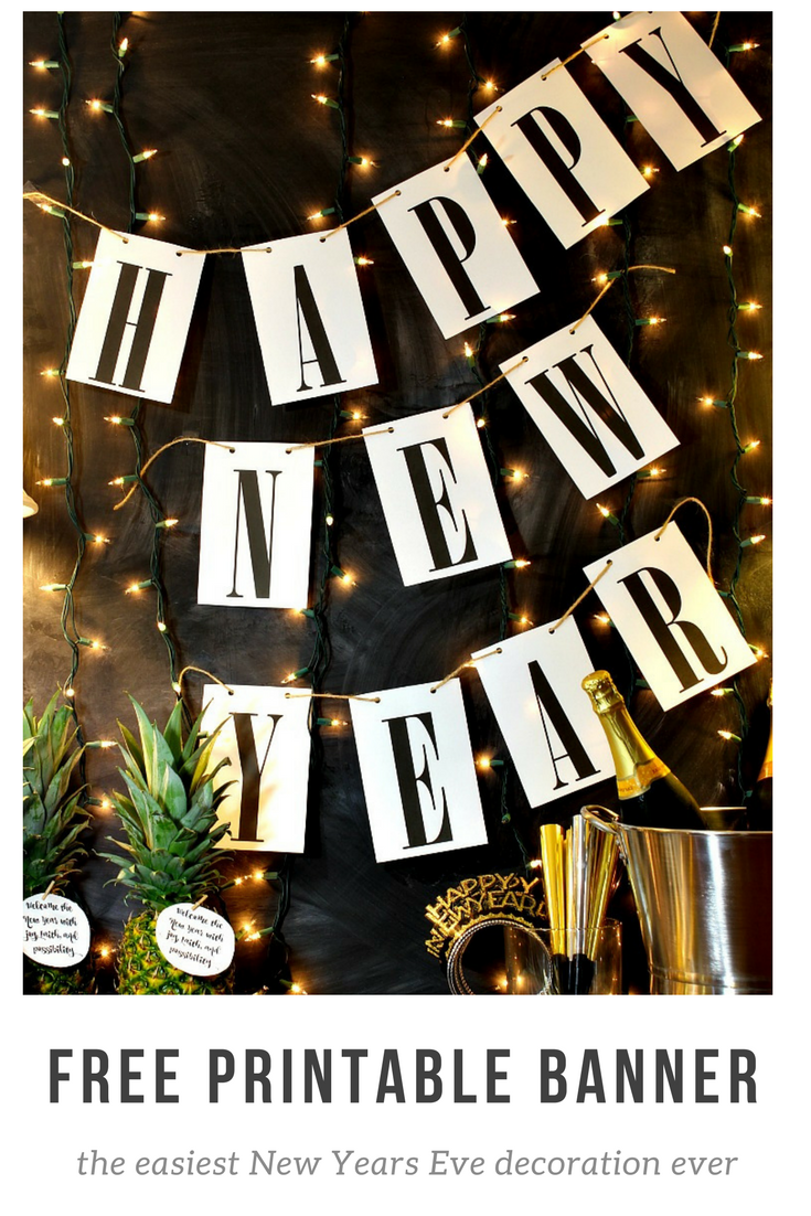 ring in the new year with this simple happy new year free printable banner it will match any decor and it is so easy to print and hang