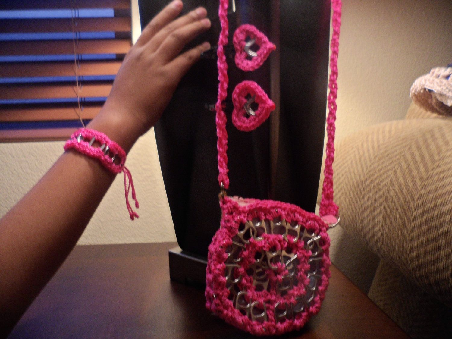 SOBE's hot pink soda tab purse with bracelet and by SobesCreations, $25.00