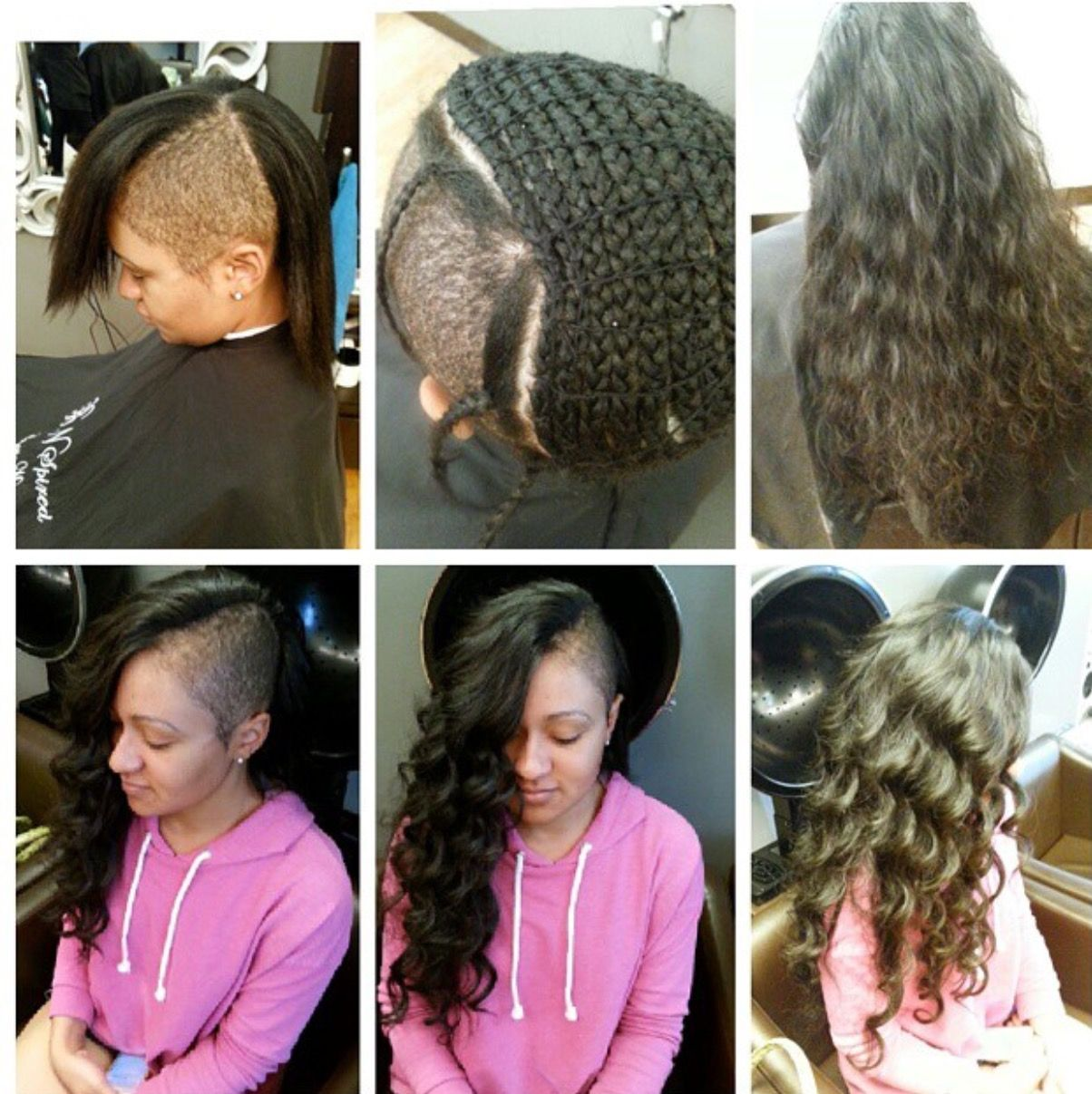 sew in shaved sides braid extensions wavy human hair